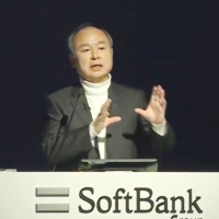 SoftBank Group founder Masayoshi Son is seen giving a news conference on YouTube on Monday. | KYODO