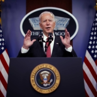 U.S. President Joe Biden delivers remarks to Defense Department personnel during a visit to the Pentagon in Arlington, Virginia, on Wednesday.  | REUTERS