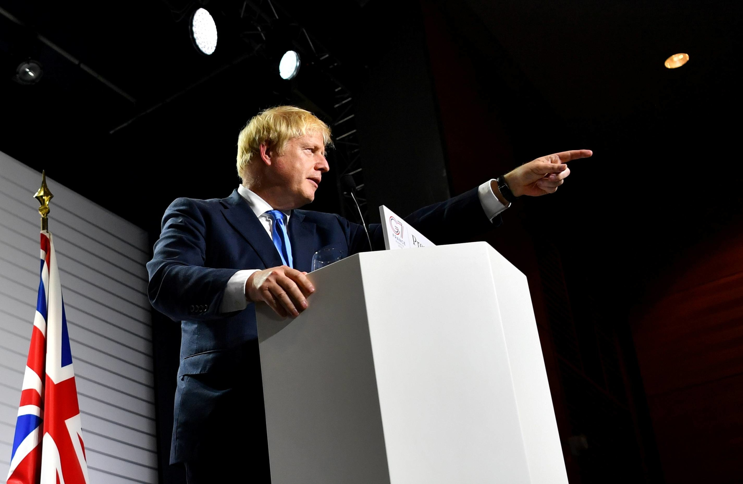 Britain's Prime Minister Boris Johnson speaks at a news conference at the end of the G7 summit in Biarritz, France, in August 2019. The 2021 meeting, due to take place this coming June, will be chaired by Britain. |  REUTERS