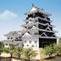 The restored iron plating on the castle's north side (right, black) will debut in 2022. city of fukuyama | CITY OF FUKUYAMA