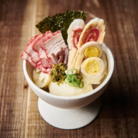 Dish in disguise: SG Low reimagines potato salad as a bowl of 'ramen' topped with pork, seaweed and a quail's egg. | COURTESY OF SG LOW