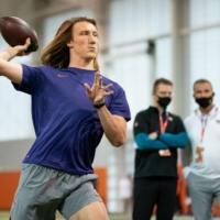 Trevor Lawrence throws a pass during a workout in Clemson, South Carolina, on Feb. 12, 2021. | USA TODAY / VIA REUTERS