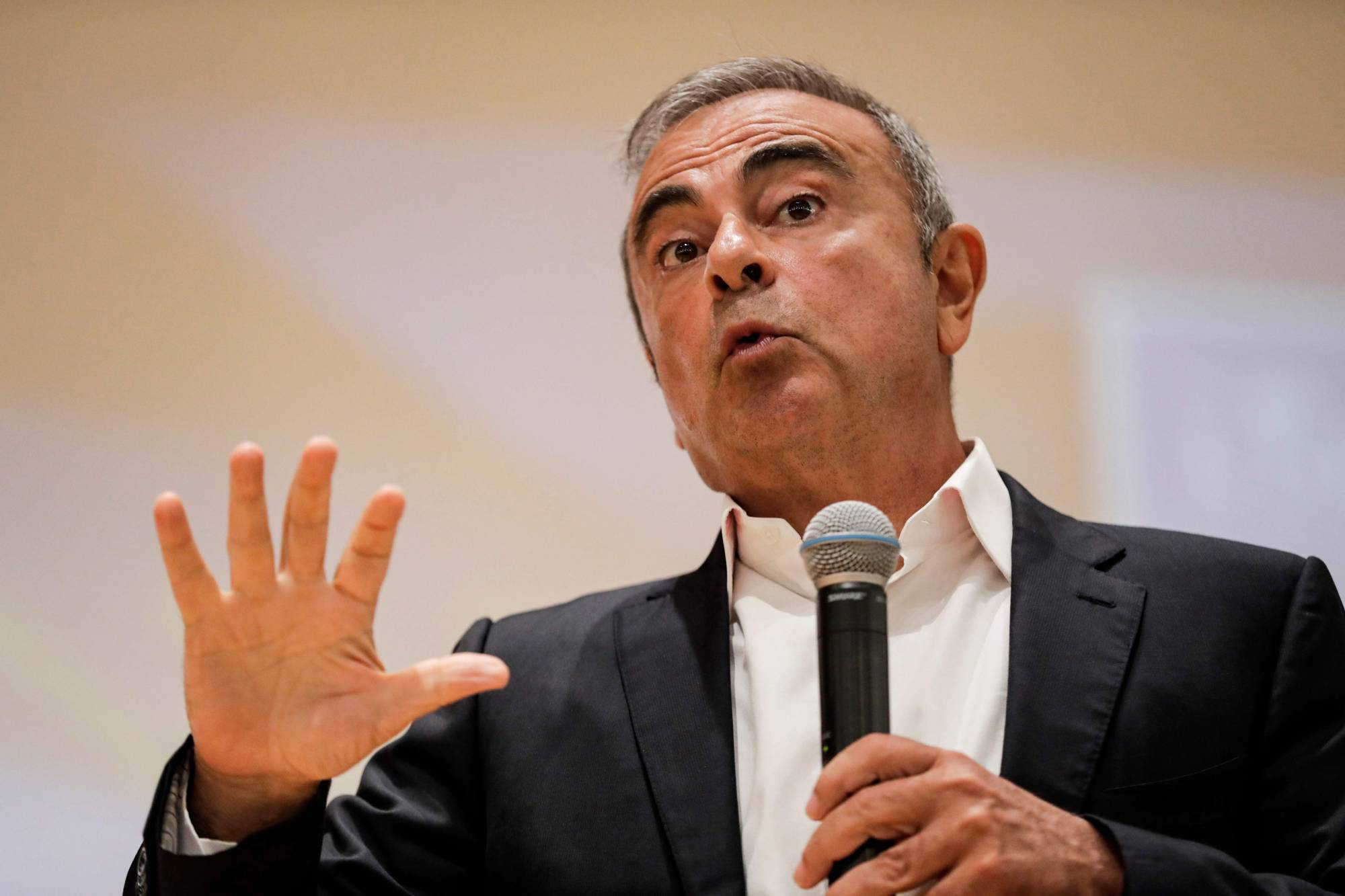 Former Nissan Motor Co. Chairman Carlos Ghosn speaks during a news conference in the northern Lebanese city of Jounieh last September. | AFP-JIJI