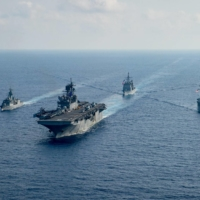 Australia has been accused by China of meddling in issues regarding the South China Sea, where its frigate HMAS Parramatta sailed with U.S. Navy vessels on April 18, 2020. | PETTY OFFICER 3RD CLASS NICHOLAS HUYNH / U.S. NAVY / HANDOUT / VIA REUTERS