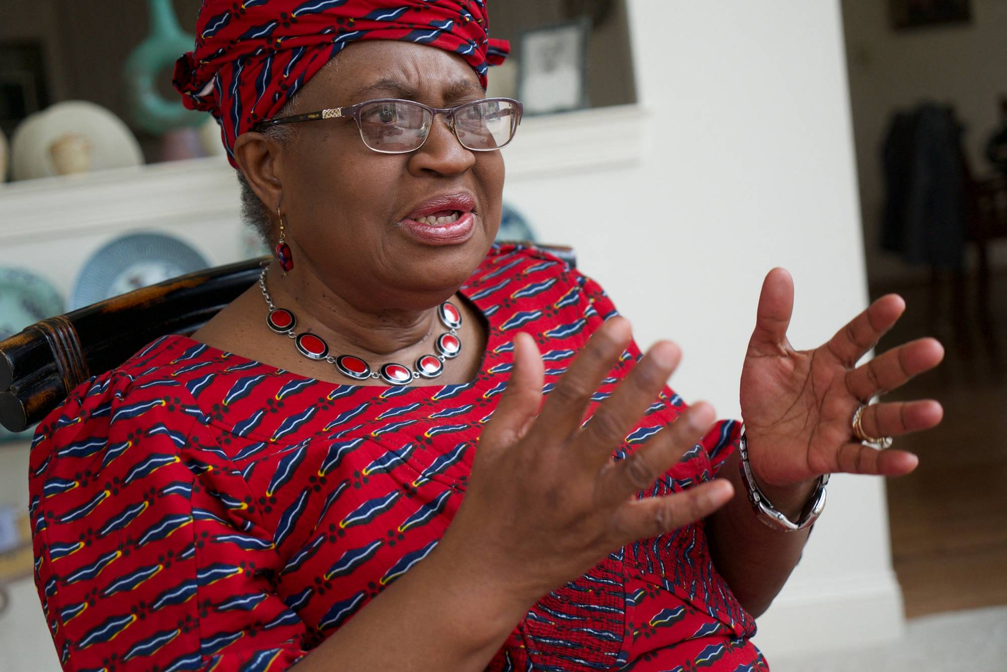World Trade Organization Director-General Ngozi Okonjo-Iweala speaks during an interview at her home in Potomac, Maryland, on Tuesday.    AFP-JIJI