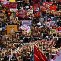 Protesters stage large rallies in Myanmar as tension mounts