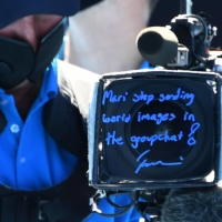 Naomi Osaka left a message for her sister on a TV camera lens filter after her win over Serena Williams in the Australian Open semifinals on Thursday in Melbourne.  | AFP-JIJI