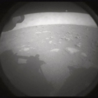An image sent by the Perseverance rover, showing the surface of Mars, just after landing on Thursday | NASA / VIA THE NEW YORK TIMES