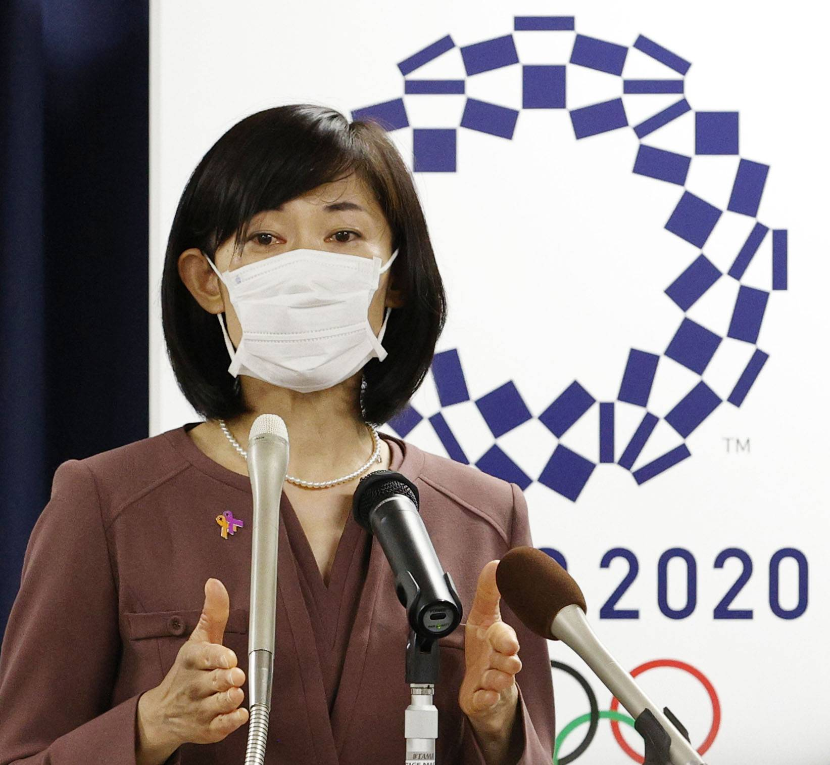New Olympics minister Tamayo Marukawa speaks at a news conference in Tokyo on Thursday. | KYODO