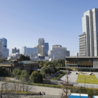 The Prime Minister's Office (right) and his official residence (left), where  PM Yoshihide Suga doesn't reside.  | KYODO