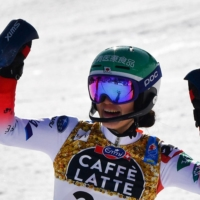 Asa Ando reacts as she crosses the finish line during second run of the women's slalom on Saturday at the FIS Alpine World Ski Championships in Cortina d'Ampezzo, Italy.   AFP-JIJI