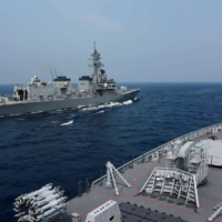 Last November, the naval forces of India, the United States, Japan and Australia took part in the Malabar drill off the coast of India. | INDIAN NAVY / VIA KYODO
