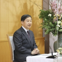 Emperor Naruhito attends a news conference in Tokyo last week.  | POOL / VIA KYODO