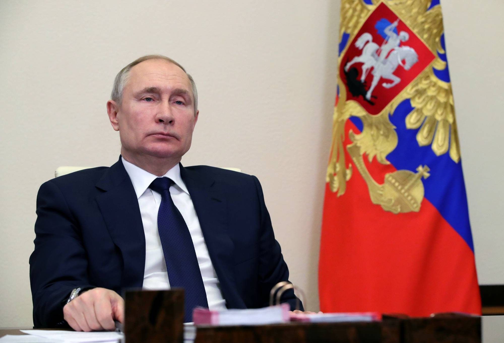 Russian President Vladimir Putin chairs a meeting with leaders of the country's political parties via a video conference call near Moscow on Feb. 17. Europe no longer has any illusions that Russia is on a trajectory toward liberal democracy.  | SPUTNIK / KREMLIN / VIA REUTERS