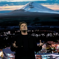 Danish architect Bjarke Ingels, CEO of Bjarke Ingels Group, talks about Woven City, a prototype city of the future on a 175-acre site at the base of Mt. Fuji in Japan, at a Toyota Motor Corporation news conference during the 2020 CES in Las Vegas in January 2020.