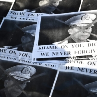 Images of Myanmar's military chief Gen. Min Aung Hlaing are pictured as a group of Myanmar activists protest outside United Nations University building in Tokyo on Feb. 1, following a military coup in the Southeast Asian country. | AFP-JIJI