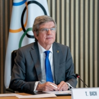 IOC President Tomas Bach attends an executive board meeting in Lausanne, Switzerland, on Feb. 24.  | AFP PHOTO / IOC / GREG MARTIN