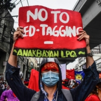 A protest on Dec. 10 last year, International Human Rights Day, near the presidential palace in Manila | AFP-JIJI