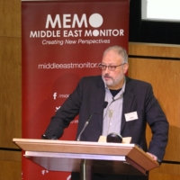 Saudi dissident Jamal Khashoggi speaks at an event hosted by Middle East Monitor in London in September 2018. | MIDDLE EAST MONITOR / VIA REUTERS