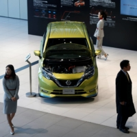 A Nissan Note, which uses the carmaker's e-Power system, in the showroom at the carmaker's headquarters in Yokohama