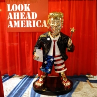 With gold-colored Trump statue, conservatives show fealty to former president
