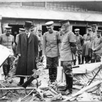 Aikitsu Tanakadate (left) became actively involved in military aviation ahead of World War II, and is seen here with military personnel at the site of an air crash in 1935. | COURTESY OF TANAKADATE AIKITU MEMORIAL SCIENCE MUSEUM