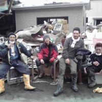 Cleanup crew: Matthew Ketchum (third from left) joined his friend's makeshift group to help clear his adopted hometown of rubble following the Great East Japan Earthquake.  | COURTESY OF MATTHEW KETCHUM