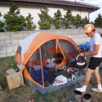Jamie El-Banna spent a portion of his time in Tohoku camping in the grounds of Ishinomaki Senshu University, alongside countless other volunteers. | JAMIE EL-BANNA