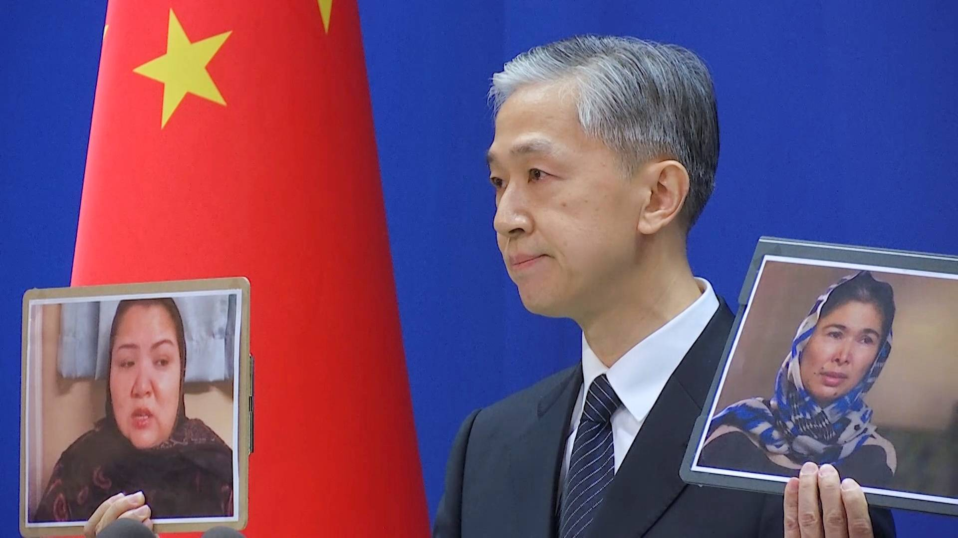 Chinese Foreign Ministry spokesman Wang Wenbin speaks during a news conference in Beijing on Feb. 23. | REUTERS TV / VIA REUTERS