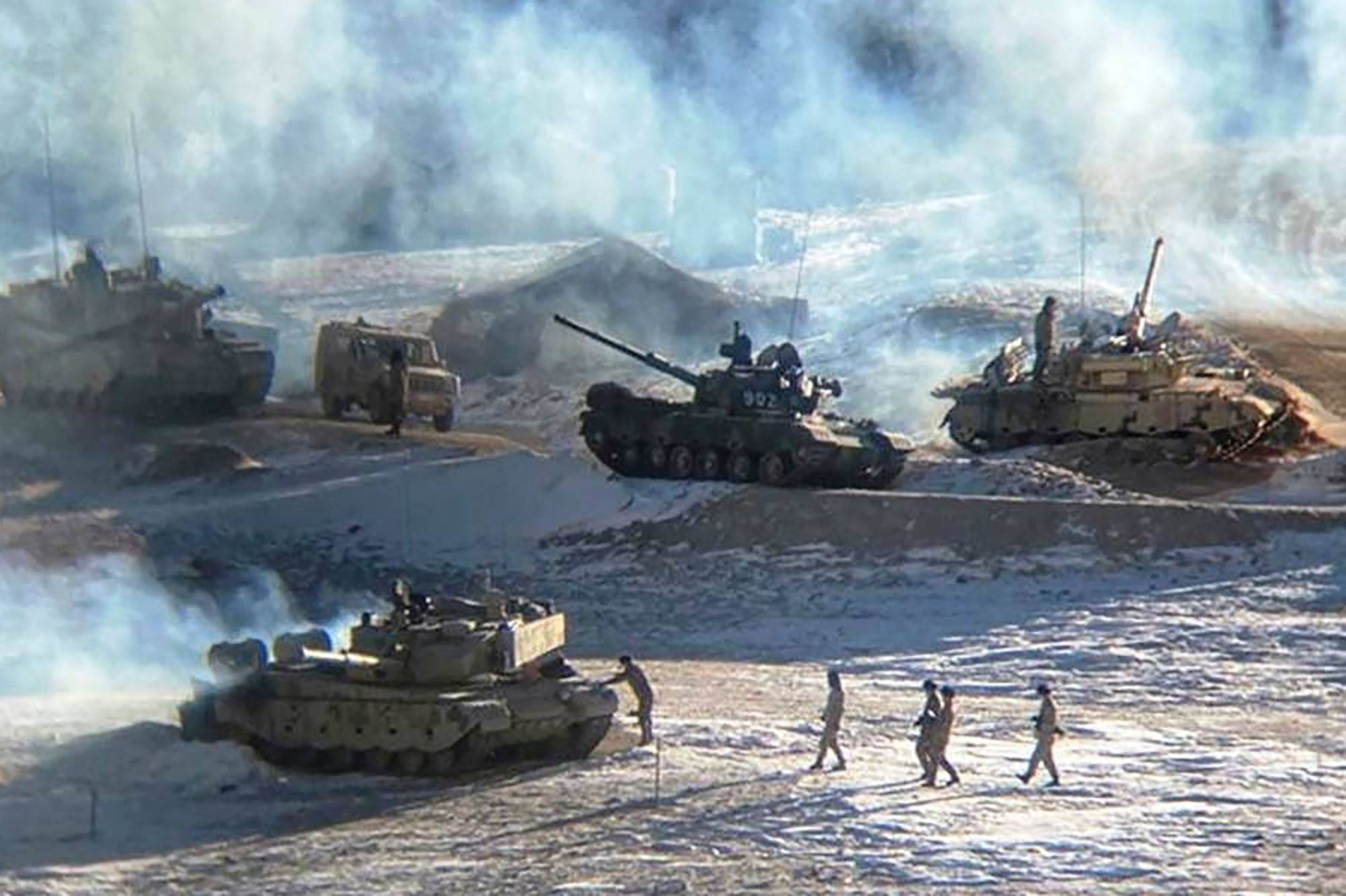 Chinese People Liberation Army soldiers and tanks are seen along the Line of Actual Control at the India-China border in Ladakh, India, in this undated photograph released on Feb. 16. | INDIAN MINISTRY OF DEFENSE / VIA REUTERS
