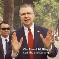 Daniel Kritenbrink, U.S. ambassador to Vietnam, performs in a rap video to mark the traditional Tet holiday on the Lunar New Year. Kritenbrink, a career foreign service officer, is probably more qualified to be a diplomat in China than any of the other names currently being discussed, despite being a Trump era appointee. | U.S. EMBASSY IN HANOI / VIA AFP-JIJI