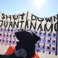 Demonstrators take part in a protest calling for the closure of the Guantanamo Bay detention camp in front of the White House in January 2016.  | AFP-JIJI