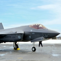 An Air Self-Defense Force F-35A stealth fighter at Misawa Base in Aomori Prefecture | KYODO