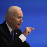U.S. President Joe Biden speaks during a virtual meeting in Washington on Wednesday. | BLOOMBERG
