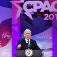 Then.-U.S. Vice President Mike Pence speaks during the Conservative Political Action Conference (CPAC) in National Harbor, Maryland, in 2019. | AFP-JIJI