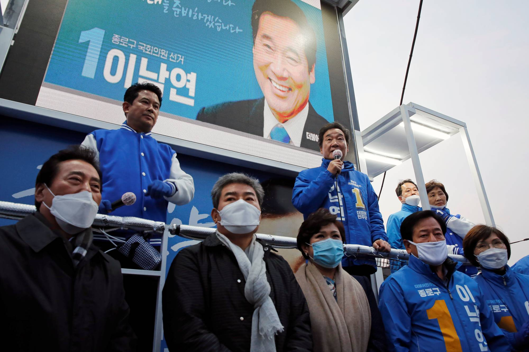 Lee Nak-yon, a former South Korean prime minister, speaks at a campaign rally in Seoul in April 2020. | REUTERS