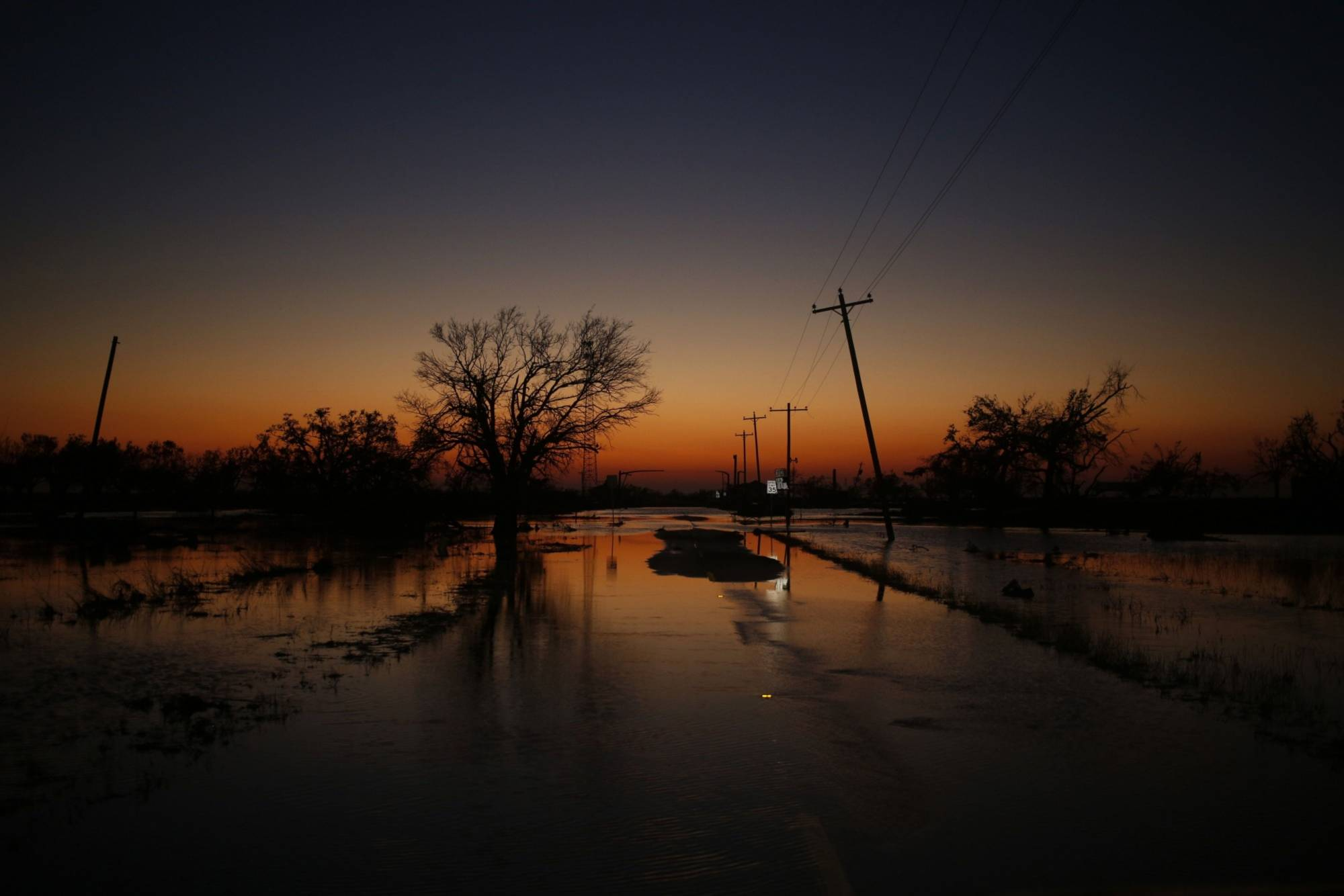 Floodwater covers a highway in Louisiana in November after Hurricane Delta made landfall. The 'Atlantic Multidecadal Oscillation' has been thought to influence the strength of Atlantic hurricanes.   BLOOMBERG