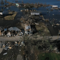 Destroyed homes are seen on Oct. 10 in Cameron, Louisiana, in the aftermath of Hurricane Delta.   REUTERS