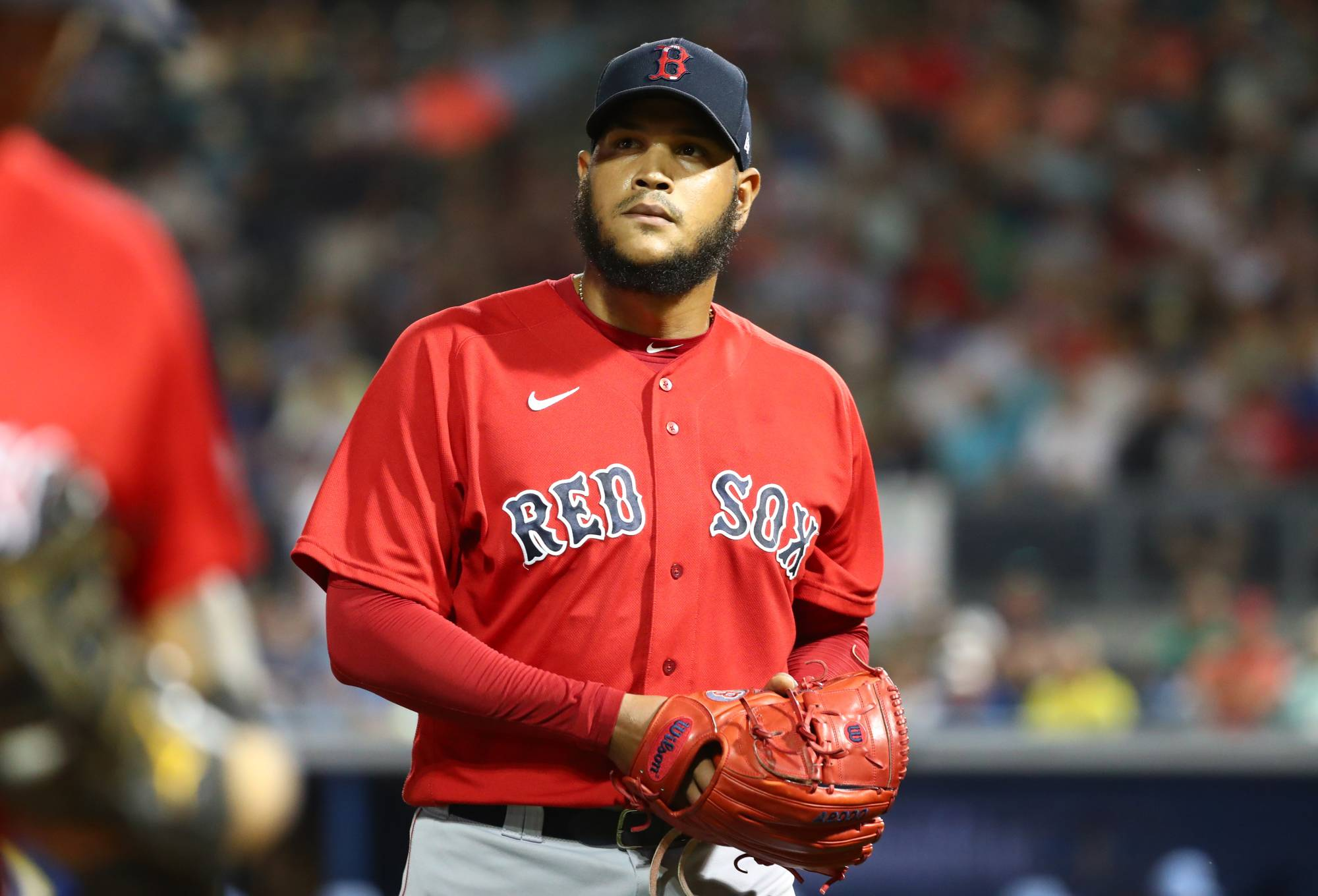 Red Sox pitcher Eduardo Rodriguez is one of a handful of athletes in North America's pro leagues who were diagnosed with heart disease after testing positive for COVID-19. | USA TODAY / VIA REUTERS