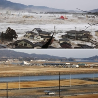 Top: Tsunami-ravaged Rikuzentakata, Iwate Prefecture, on March 11, 2011. The land has since been raised to fend off tsunami and the area remains vacant. | KYODO