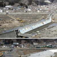 Top: Tsunami overwhelm the breakwater in Miyako, Iwate Prefecture, on March 11, 2011. Bottom: Construction of a replacement breakwater commenced on Feb. 25.