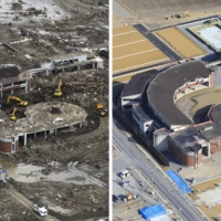 Left: The remnants of the tsunami-devastated Okawa Elementary School stand in Ishinomaki, Miyagi Prefecture, on March 23, 2011. Right: A decade later, the structure of the now-defunct school, shown on Feb. 14, awaits preservation as a reminder of the 74 students and 10 school officials who lost their lives. | KYODO