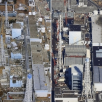 The Fukushima No. 1 nuclear plant is shown on March 20, 2011 (left) and on Feb. 14 this year.