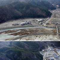 Kamaishi Higashi Junior High School and Unosumai Elementary School, are shown on March 22, 2011, in the wake of the tsunami in Kamaishi, Iwate Prefecture. Kamaishi Unosumai Memorial Stadium (bottom, shown in December) was built in their place and shown in the bottom photo taken last December, was built where the schools were and hosted a Rugby World Cup game in 2019. | KYODO