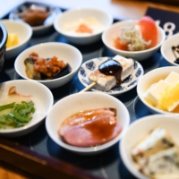 An 18-dish breakfast served at a cafe at Tsukiji Hongwanji temple | BLOOMBERG