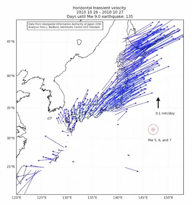 A map shows the transient movement of Japan on Oct. 26, 2010, at the start of what geophysicist Jonathan Bedford calls a 'wobble' preceding the Great East Japan Earthquake on March 11, 2011. | COURTESY OF JONATHAN BEDFORD