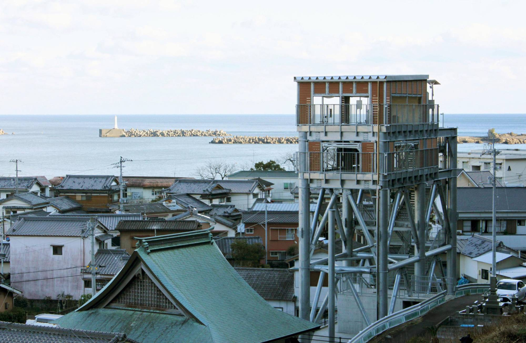 High ground: An evacuation tower in Kuroshiro, Kochi Prefecture, hopes to offer some refuge in the event of a tsunami. | KYODO