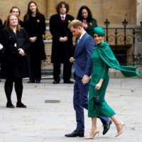 Britain's Prince Harry and Meghan, Duchess of Sussex, arrive to attend the annual Commonwealth Service at Westminster Abbey in London in March 2020.   AFP-JIJI