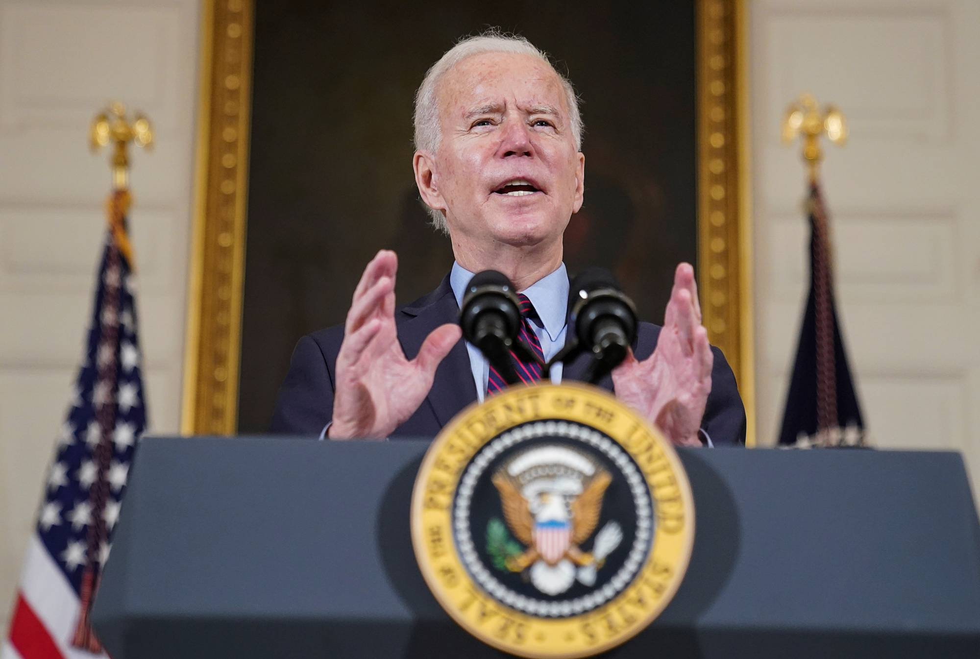 U.S. President Joe Biden speaks in Washington on Feb. 5. | REUTERS
