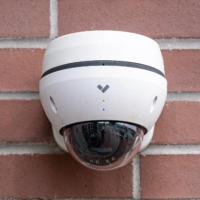 A Verkada Inc. security camera on the company's headquarters in San Mateo, California on March 10. | BLOOMBERG